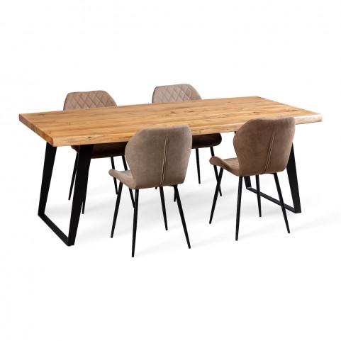 Стол лофт из массива большой с живым краем, ДЖИВАН life black,  2 метра